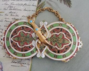 Antique 2 pc. Cloisonné Coat Clasp or Belt Buckle w/ Sabre Clasp.   NDT43