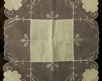 Pale Mint Green Cotton Handkerchief w/ Swiss Lace Original Label NOS   NEF2