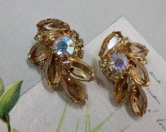 Marquise Stone Vintage Smoky Topaz Juliana Clip On Earrings    OV28