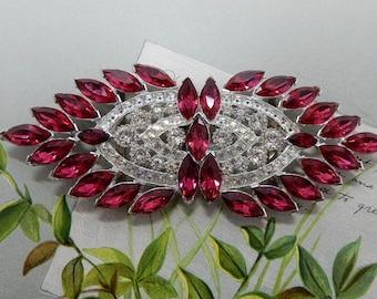 Best Art Deco Pot Metal Belt Buckle w/ RED Marquise Rhinestone Accents    OAE12