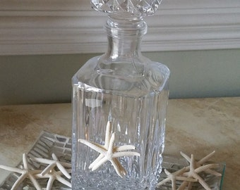Beach Wedding Sand Ceremony Vintage Lead Crystal Bottle with Square Stopper - Two White Starfish - Mr. & Mrs.