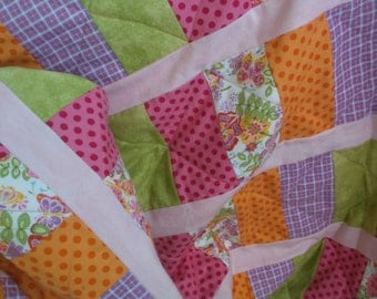Quilted flannel baby girl quilt handmade baby quilt