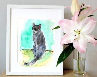 Black cat home decor - best cat lover gift - cat lady - bedroom wall decor - black cat print - magical illustration - ethereal print