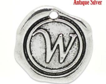 """5pcs. Antique Silver LARGE Letter """"W"""" Alphabet Letter - 18mm x18mm - Wax Design"""
