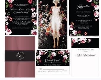Ophelia .Romantic Botanical Wedding invitation. Black wedding invitation.Invitation and Rsvp Sample