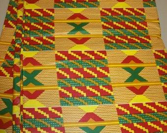 Tribal Kente per yard yellow, red, green kente/ African kente print fabric/ Kente bow ties/ kente stoles/Kente Weddings/ Kente Cloth