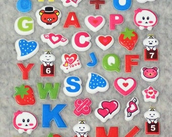 Mixed Cute Assorted Alphabets Stickers