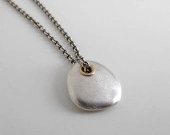 sterling silver stone necklace modern sterling silver necklace casual style sterling silver river rock necklace minimalist necklace