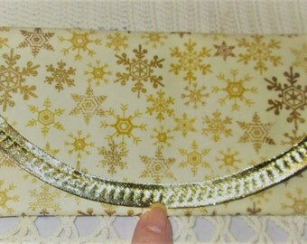 Golden Snow Flakes fabric, Wallet money clip 7.5 x 3.5 Bags & Purses, gold bias tape, lining same, Christmas Stocking stuffer gifts