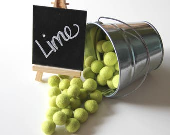 Felt Balls- Lime Green- 20mm-Pk of 20
