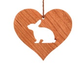 Rabbit Ornament, Wood Heart Shaped Bunny Ornament, Year of the Rabbit, Pet Christmas Decoration, Cherry
