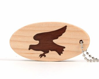 Eagle Key Chain, Wood Bird Key Ring, Wooden Nature Key Fob, Americana Accessories, USA Symbol, Walnut