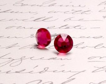 Ruby Red Swarovski Crystal Post Stud Earrings. Simple Sparking Earrings.