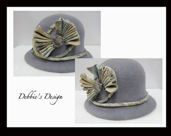 Women's Handmade Cloche Hat-515 Women's Felted Cloche Hat, Accessories, Hat, Handmade, cloche felt hat, Downton abbey, Black and White