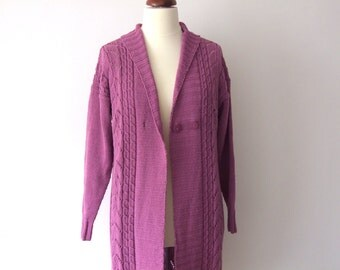 knit purple jacket, plus size cardigan, cotton and acrylic, long sleeved sweater with buttons