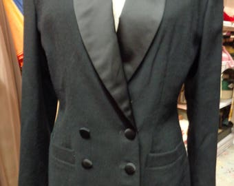 VINTAGE 1980's Ladies Black Tuxedo Jacket by Kasper - Free Shipping (available)