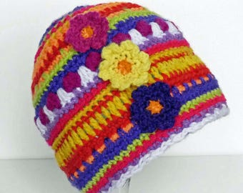 Bright coloured Baby/toddler size Mandala hat,  to fit head circumference 18-19 inches (average 1-2 years size) - ready to ship.