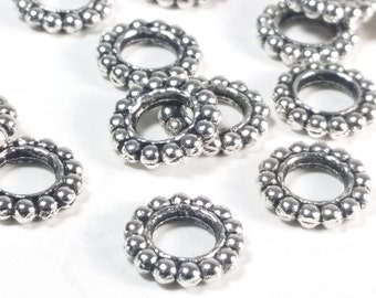 Rondelle Spacer Beads, Antique Silver Pewter, Extra Large 5mm hole, 10x2mm, Bali Look, Lead Free, Lot Size 20 to 50,  #1369 BH
