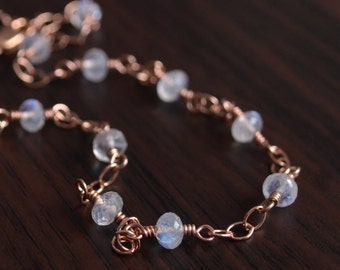 Rainbow Moonstone Anklet, Rose Gold Jewelry, Genuine AAA Gemstone, Pink Gold Chain, Dainty Summer Jewelry, Free Shipping