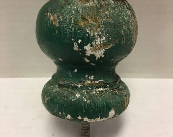 Vintage Architectual Salvage Wood Post Cap Original Green White Paint Finial