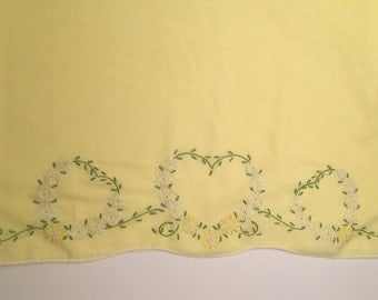 Vintage heirloom yellow hand embroidered floral heart scalloped edge pillowcase refashion upcycle dress fabric
