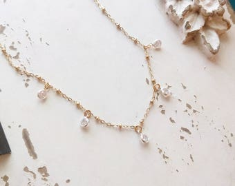 Tiny Cubic Zirconia Drop Necklace, Dainty CZ Dangle Necklace, Gold Fill, Sparkly Choker, Bridal Necklace, Bridesmaids Jewelry, Gift for Her