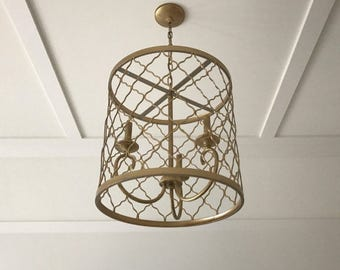 Gorgeous Gold Drum Chandelier***Casts beautiful light to any space!