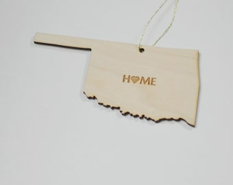Natural Wood HOME Oklahoma State Ornament