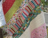 Patchwork Strip Tag Along Quilt.....Cuddles....Naptime...FREE SHIPPING.....U.S. Only