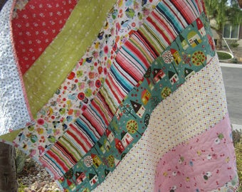 Patchwork Strip Tag Along Quilt.....Cuddles....Naptime...Ready to Ship