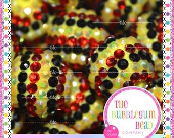 20mm RED, BLACK & YELLOW Bubblegum Beads, Chunky Beads, Gumball Beads, Acrylic Bead, Striped Round Bead, Diy Supply, The Bubblegum Bead Co.