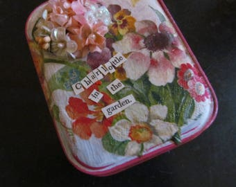 Charlottle in the Garden Altered Tin, many vintage materials