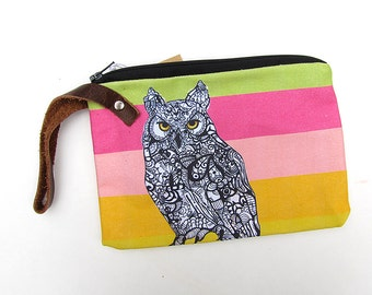 Horned Owl Wristlet Zipper Bag Zentangle Design