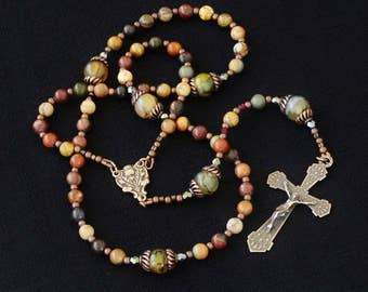 Thistle crucifix & center Catholic Rosary, Red Creek Jasper and Green Agate. Free Rosary Pouch.