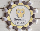 Owl Theme Button Pin name tag- yellow  and grey- for Baby Shower or Birthday Party