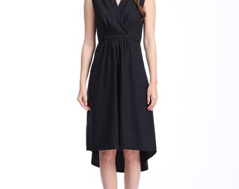 Loose-fitting Styles/ High-waisted Sleeveless Linen Drawstring Dress with Pleats/ V neck/Pockets/ Knee/24 Colors/ RAMIES