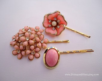 Vintage earring hair bobbies - Pink gold flower bunch rhinestones gold trim milk glass unique jeweled embellish decorative hair accessories