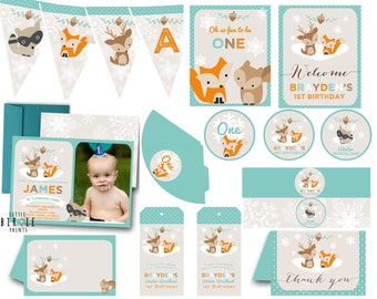Winter Woodland Birthday Party Invitation / Winter woodland onederland invitation Boy woodland animals premium pack - banner cupcake toppers
