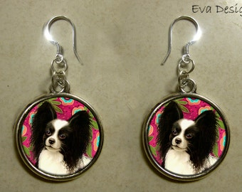 PAPILLON DOG EARRINGS jewelry handcrafted handmade sterling silver hooks round charm dangle pet art gift