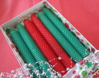 Red and Green Beeswax Candles in a Gift Box, Gifts for her, Beeswax Candles, Gifts for him, Gifts for the teacher, Gifts for Hostess