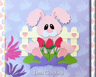 SPRING BUNNY Paper Piecing card toppers and scrapbooking embellishment