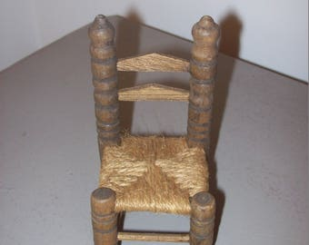 Vintage Dollhouse or Doll Chair Wood Hand Woven