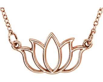 """14k Gold Lotus Flower Necklace - Yoga Jewelry. 14k Rose, Yellow & White Gold. Adjustable 16-18"""" Chain"""