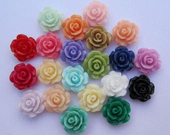 50 Flowers, resin flowers, roses, resin rose, resin rose flower, flower beads, Cabochon flowers, Assorted resin flower charms 8mm