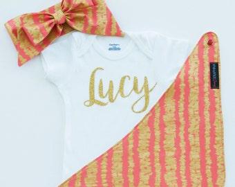 Coral and Gold Gift Set - Glitter Bodysuit - Baby Shower Gift - Gold Glitter Gold Metallic - Personalized Baby Gift - Bandana Bib