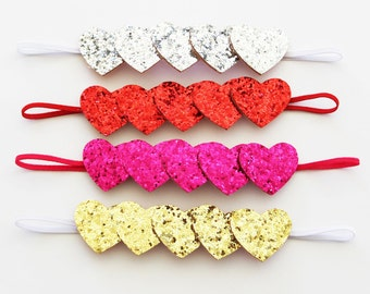 Glitter Heart Headband - Valentine's Day Headband - Baby Headband - Infant Headband - Toddler Headband - Adult Headband  -Red Glitter