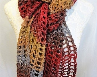 maroon, grey and tan lacy super scarf wrap