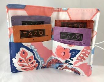 Tea Wallet Tea Bag Wallet - Tea Bag Case Tea Bag Holder Tea Holder Tea Bag Cozy - Tea Bag Organizer - Art Gallery In Blue