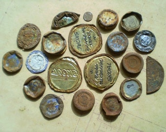 19 Rusty Metal Lids or Caps - Salvaged Supplies - Found Objects for Assemblage, Altered Art or Mixed Media