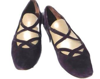 Purple Suede Women's Shoe Size 12 Van Eli Vintage Heel Flapper 20s style Classy Dress Shoe